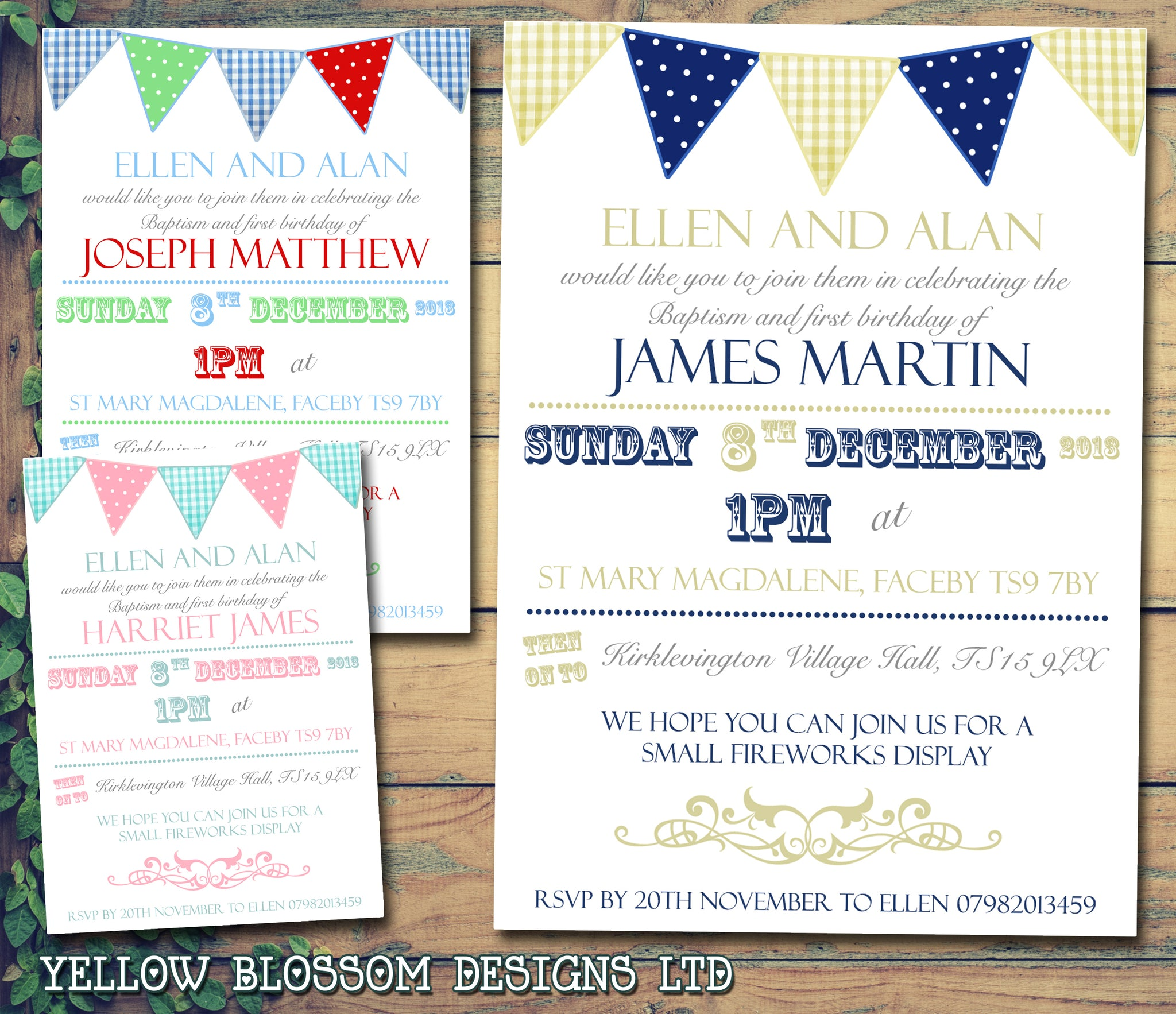 Ginham Bunting Celebration Party - Christening Invitations Joint Boy ...