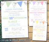 Spotty Shabby Chic Bunting - Christening Invitations Joint Boy Girl Unisex Twins Baptism Naming Day Ceremony Celebration Party ~ QUANTITY DISCOUNT AVAILABLE
