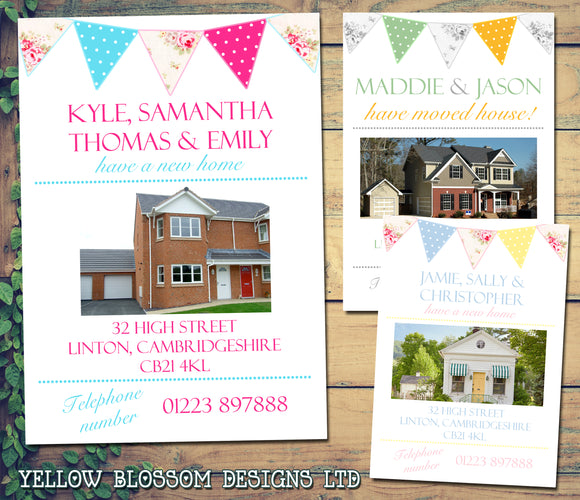 Home Photo Bunting Shabby Chic Vintage Personalised Moving House Announcement Cards ~ QUANTITY DISCOUNT AVAILABLE