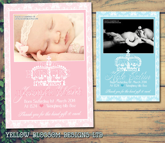 Princes Princess Thank You Message Note New Born Baby Birth Announcement Photo Cards Personalised Bespoke ~ QUANTITY DISCOUNT AVAILABLE