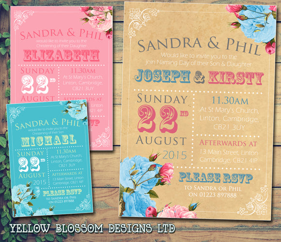 Rustic Roses Blue Pink Bunting - Christening Invitations Joint Boy Girl Unisex Twins Baptism Naming Day Ceremony Celebration Party ~ QUANTITY DISCOUNT AVAILABLE