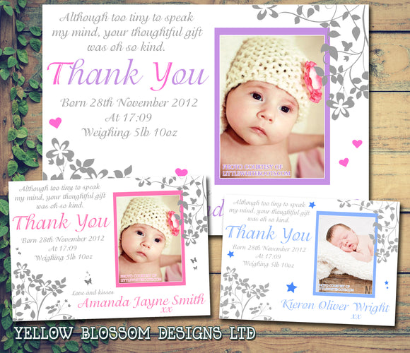 Boy Girl Twins Thank You New Born Baby Birth Announcement Photo Cards Personalised Bespoke ~ QUANTITY DISCOUNT AVAILABLE - YellowBlossomDesignsLtd
