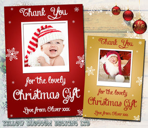 Red Gold Photo Boy Girl Personalised Folded Flat Christmas Thank You Photo Cards Family Child Kids
