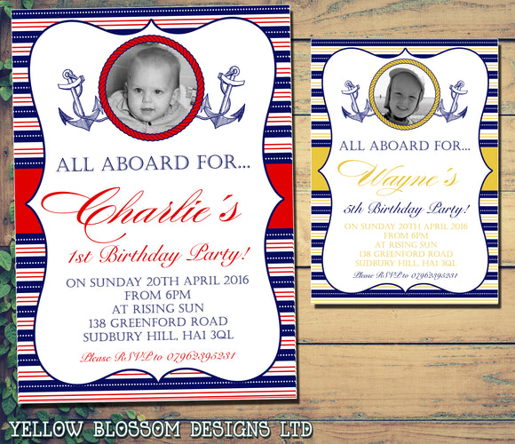 All Aboard Nautical Photo Party Invitations - Birthday Invites Boy Girl Joint Party Twins