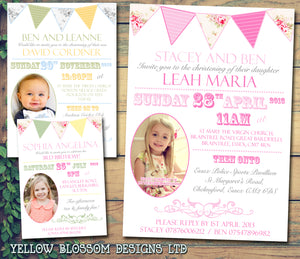 Joint Celebration Party Bunting Photo - Christening Invitations Joint Boy Girl Unisex Twins Baptism Naming Day Ceremony Celebration Party ~ QUANTITY DISCOUNT AVAILABLE