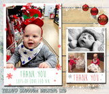 Snowflakes Modern Elegant Personalised Folded Flat Christmas Thank You Photo Cards Family Child Kids ~ QUANTITY DISCOUNT AVAILABLE