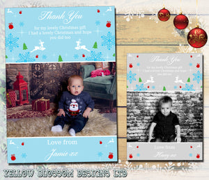 Reindeer Snowflakes Stars Personalised Folded Flat Christmas Thank You Photo Cards Family Child Kids ~ QUANTITY DISCOUNT AVAILABLE
