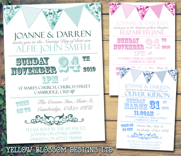 Shabby Chic Bunting - Christening Invitations Boy Girl Unisex Twins Baptism Naming Day Ceremony Celebration Party ~ QUANTITY DISCOUNT AVAILABLE