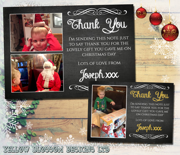 Chalkboard Personalised Folded Flat Christmas Thank You Photo Cards Family Child Kids ~ QUANTITY DISCOUNT AVAILABLE