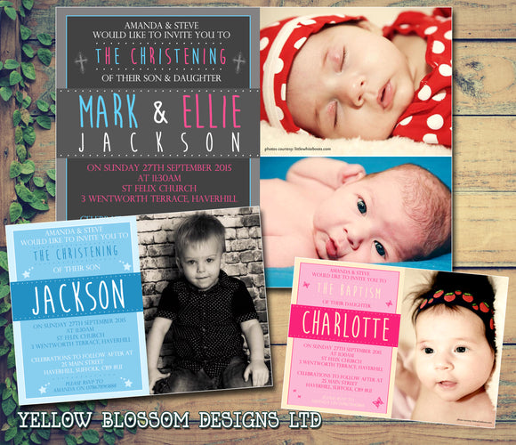 Photo Joint Twins Classic - Christening Invitations Boy Girl Unisex Twins Baptism Naming Day Ceremony Celebration Party ~ QUANTITY DISCOUNT AVAILABLE