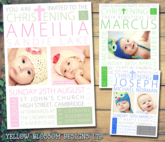 Typography Photo Religious - Christening Invitations Joint Boy Girl Unisex Twins Baptism Naming Day Ceremony Celebration Party ~ QUANTITY DISCOUNT AVAILABLE