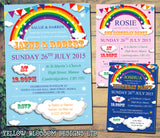 Rainbow Bunting Boy Girl Joint Party Invitations - Children's Kids Child Birthday Invites Boy Girl Joint Party Twins Unisex Printed ~ QUANTITY DISCOUNT AVAILABLE