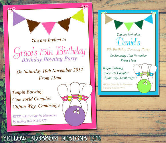 Bowling - Children's Kids Child Birthday Invitations Boy Girl Joint Party Twins Unisex Printed ~ QUANTITY DISCOUNT AVAILABLE - YellowBlossomDesignsLtd