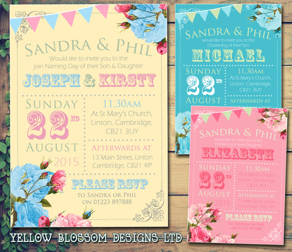 Roses Bunting Rusitc - Christening Invitations Joint Boy Girl Unisex Twins Baptism Naming Day Ceremony Celebration Party ~ QUANTITY DISCOUNT AVAILABLE