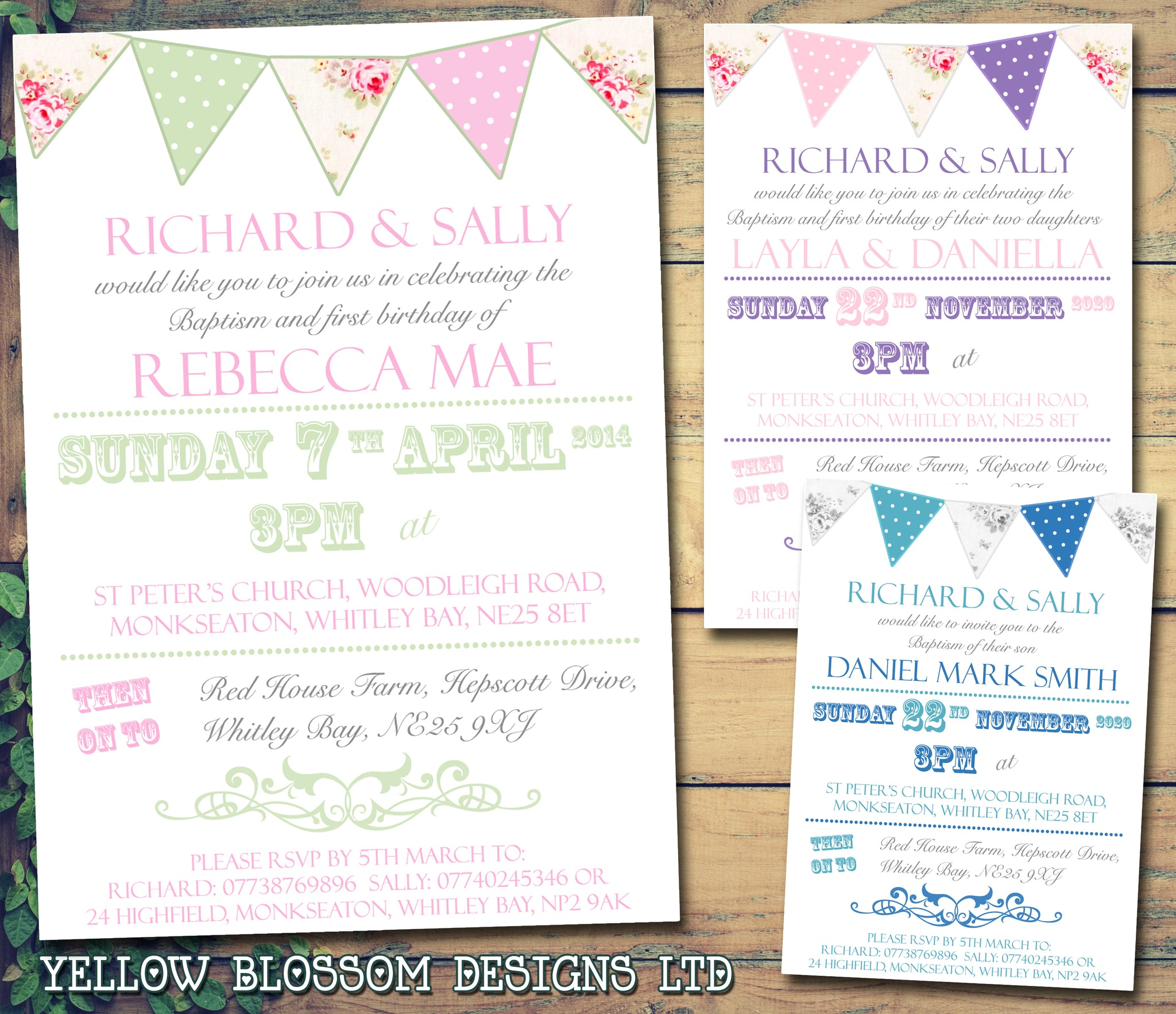 Rustic Poster Bunting Chic - Christening Invitations Joint Boy Girl ...