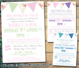 Rustic Poster Bunting Chic - Christening Invitations Joint Boy Girl Unisex Twins Baptism Naming Day Ceremony Celebration Party ~ QUANTITY DISCOUNT AVAILABLE