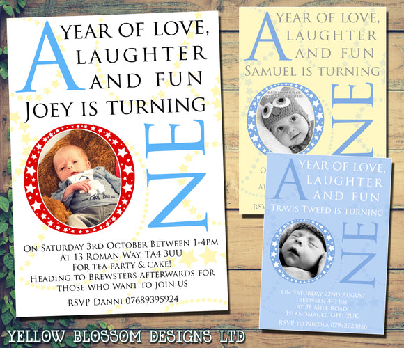 Boys Year Of Love Laughter & Fun - Children's Kids Child Birthday Invitations Boy Girl Joint Party Twins Unisex Printed ~ QUANTITY DISCOUNT AVAILABLE