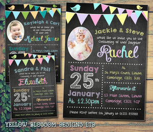 Chalkboard Photo Bunting Carnival - Christening Invitations Joint Boy Girl Unisex Twins Baptism Naming Day Ceremony Celebration Party ~ QUANTITY DISCOUNT AVAILABLE - YellowBlossomDesignsLtd