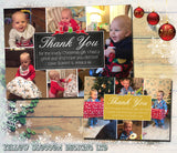 Montage Multiple Photos Boy Girl Personalised Folded Flat Christmas Thank You Photo Cards Family Child Kids ~ QUANTITY DISCOUNT AVAILABLE