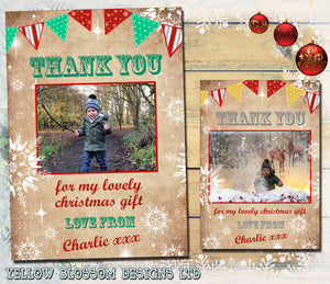 Rusitc Bunting Shabby Chic Vintage Personalised Folded Flat Christmas Thank You Photo Cards Family Child Kids ~ QUANTITY DISCOUNT AVAILABLE