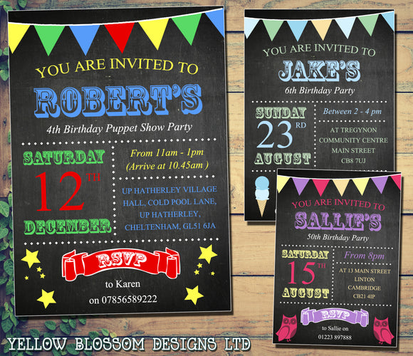 Chalkboard Colourful Bunting Ice Cream Owls Star Invitations - Children's Kids Child Birthday Invites Joint Party Unisex Printed ~ QUANTITY DISCOUNT AVAILABLE - YellowBlossomDesignsLtd