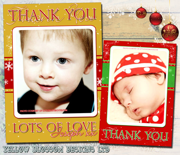 Red Gold Green Personalised Folded Flat Christmas Thank You Photo Cards Family Child Kids