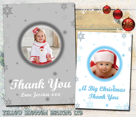 Silver Blue White Personalised Folded Flat Christmas Thank You Photo Cards Family Child Kids ~ QUANTITY DISCOUNT AVAILABLE