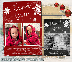 Snowflakes Swirls Personalised Folded Flat Christmas Thank You Photo Cards Family Child Kids ~ QUANTITY DISCOUNT AVAILABLE