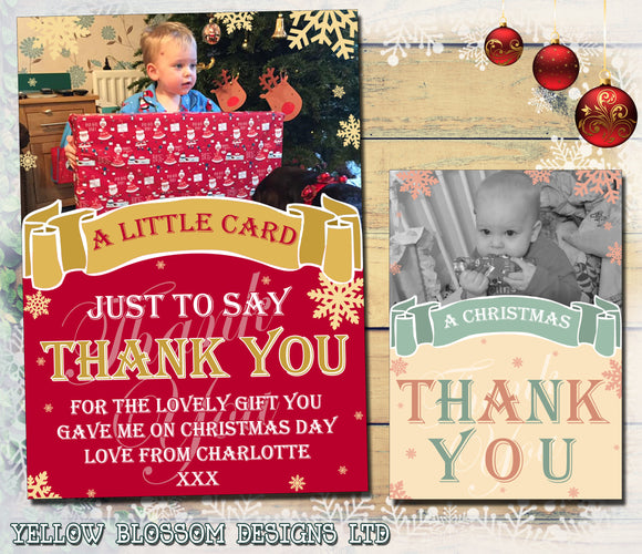 Big Thank You Personalised Folded Flat Christmas Thank You Photo Cards Family Child Kids ~ QUANTITY DISCOUNT AVAILABLE