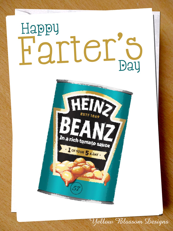 Funny Fathers Day Card From Son Daughter Rude Farter's Day For Dad Baked Bean