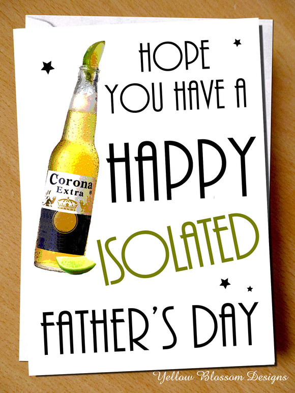Funny Joke Fathers Day Card Virus Isolation 19 Dad For Him Son Daughter Comical