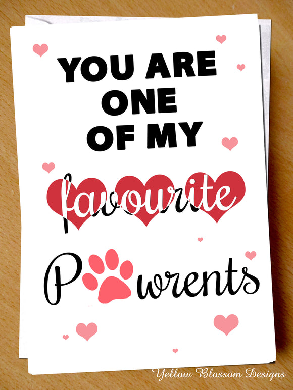Favourite Pawrent Birthday Mothers Day Christmas Card Her Mum Stepmum Animal Pet Dog Cat