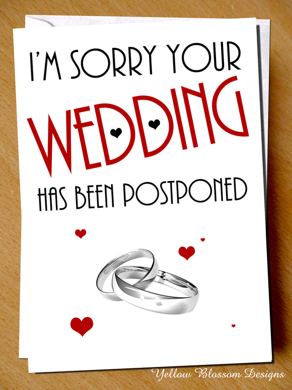 Postponed Wedding Card Sorry Friend Sister Brother Cancelled Son Daughter Love