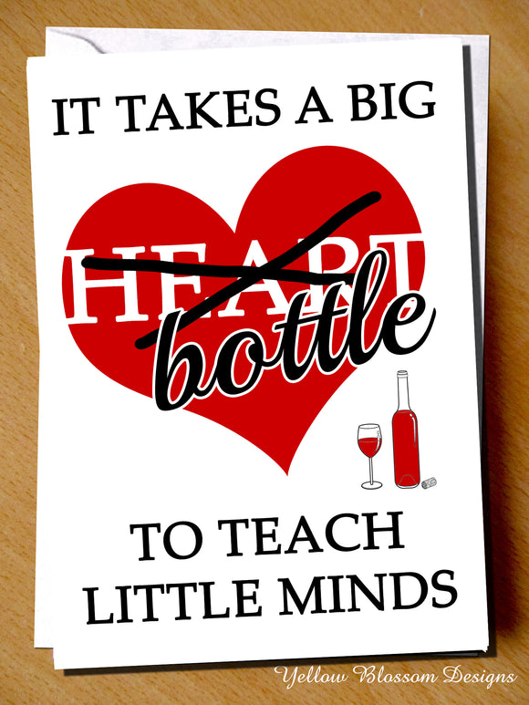Funny Teacher Thank You Card Big Bottle Teaching Assistant Nursery Childminder