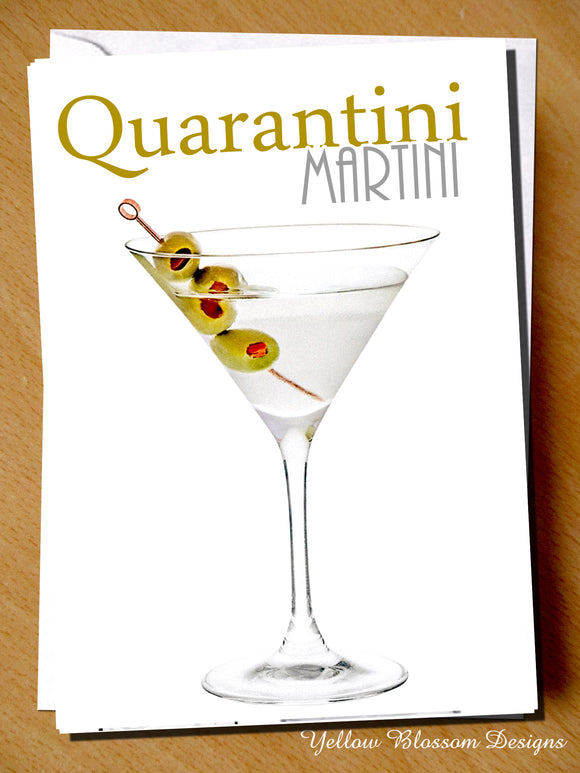 Funny Birthday Greetings Card Martini Drink Mum Dad Sister Brother Friend Virus Quarantini BFF …