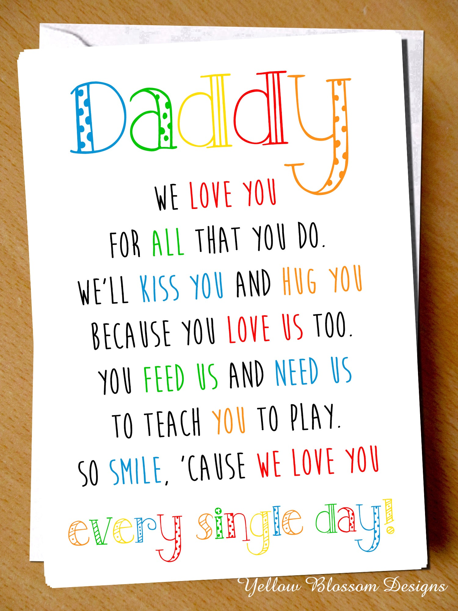 Daddy I We Love You For All That Do Fathers Day Card Dad Birthday