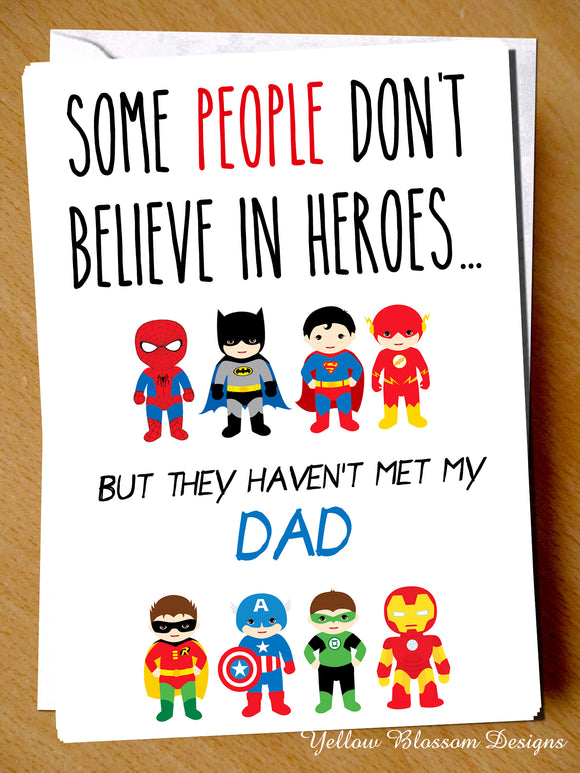 Father's Day Christmas Dad Card Superhero Birthday Daddy Son Daughter