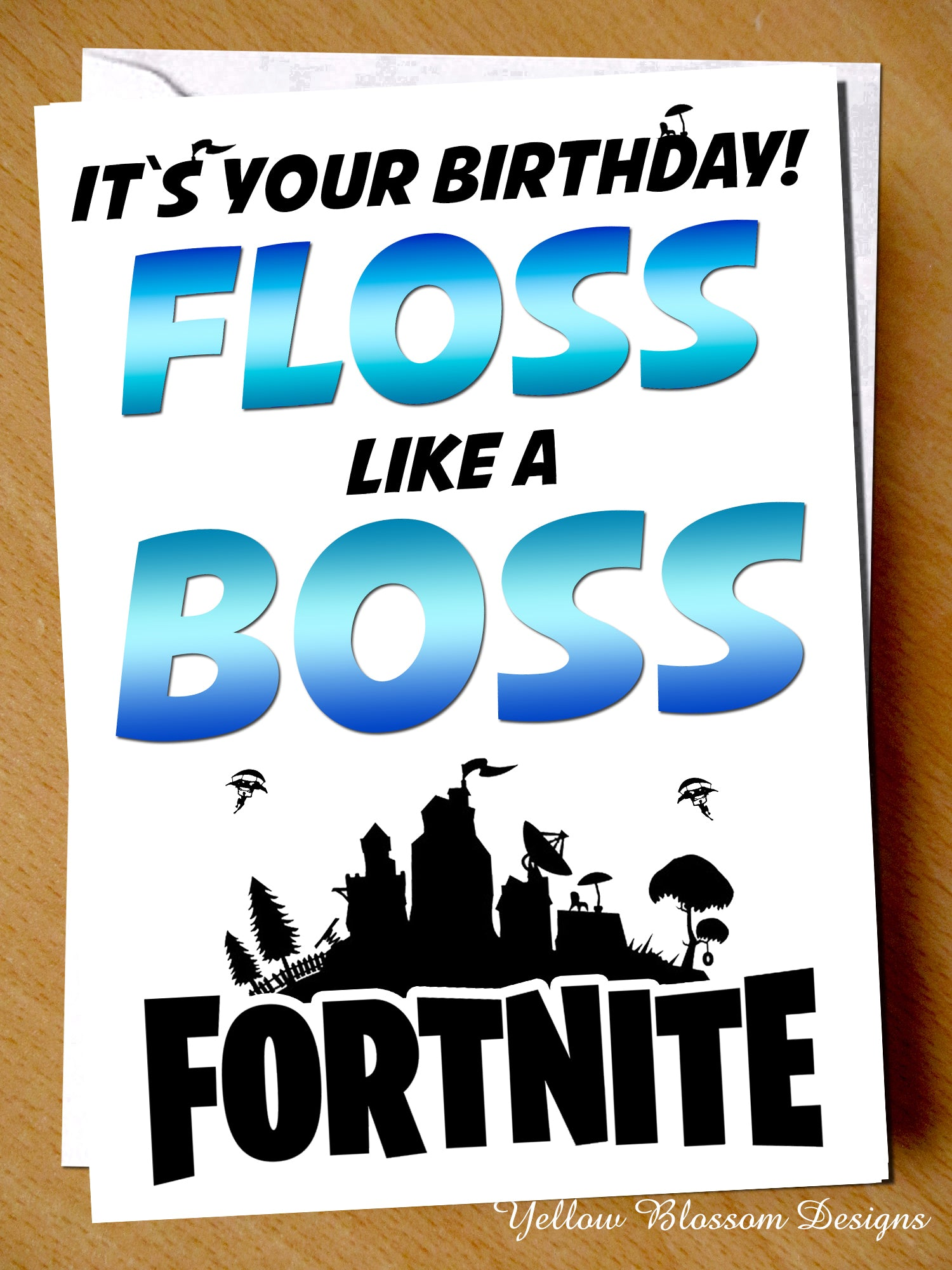 picture regarding Fortnite Birthday Card Printable called Floss Which include A Manager Fornite Birthday Card ~ Gaming ~ Teen
