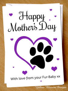 Cute Mothers Day Card From The Cat Dog Pet Animal Fur Baby Child Funny Joke Love