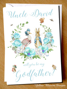 PERSONALISED Will You Be My Godfather Godmother Godparents Guardian Card ~ Peter Rabbit & Jemima