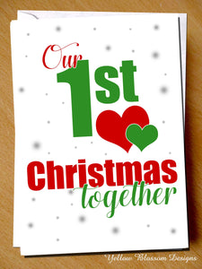 Cute Christmas Card Couple 1st Xmas Love Partner Boyfriend Girlfriend Couple Fun