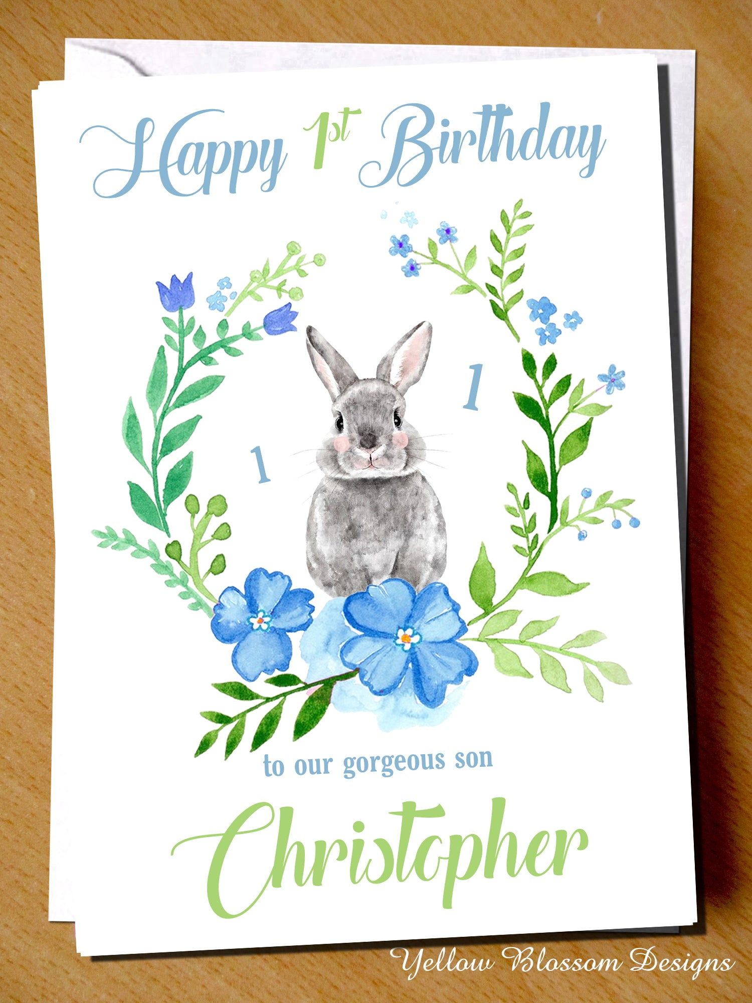 PERSONALISED Cute Bunny Rabbit Birthday Card Son Grandson Boys 1 2 3 4 5 6 Age