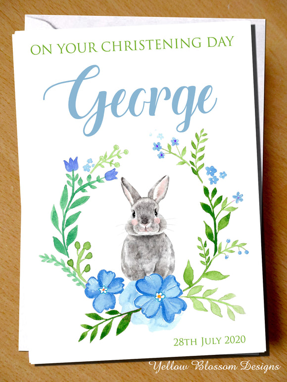 PERSONALISED On Your Christening Day Card Naming Day Baptism Boy Blue