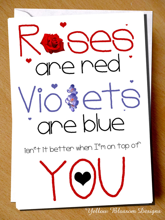 Valentine's Day Card ~ Roses Are Red Violets Are Blue Isn't It Better When I'm On Top Of You