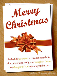 Funny Christmas Card Mum Son Daughter In Law Joke Hilarious Alternative Cheeky …