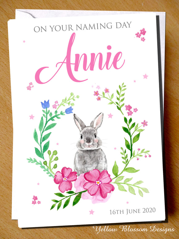 PERSONALISED Christening Day Card Naming Baptism Girls Bunny Rabbit