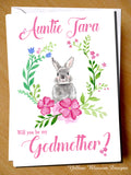 PERSONALISED Will You Be My Godfather Godmother Godparents Guardian Card Bunny Rabbit