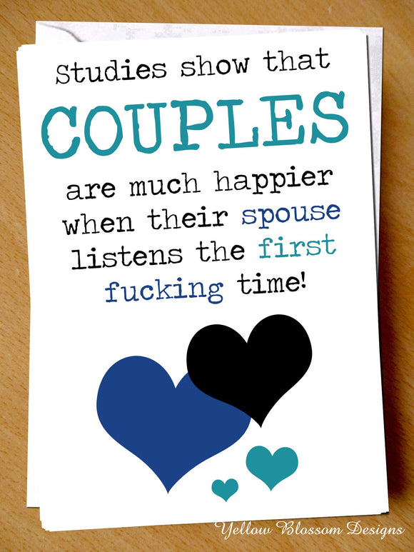 Funny Valentine Day Card Husband Wife Couple Anniversary Birthday Fiance Partner