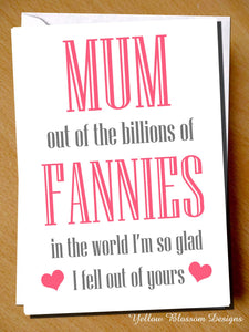 Rude Mothers Day Card Funny Humour Joke Fannies Mum For Her Women Comical Cheeky