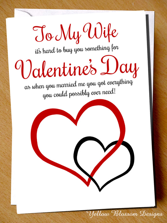 Funny Valentines Card My Wife Cheeky Witty Humour Hilarious Joke Comical Comedy